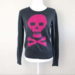 Halogen pink skull & bones grey knit sweater